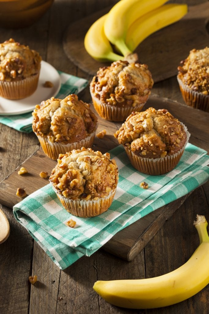 Banana muffins with streusel