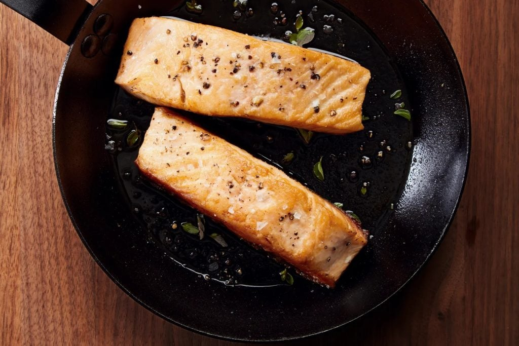 Carbon Steel Pan with Salmon