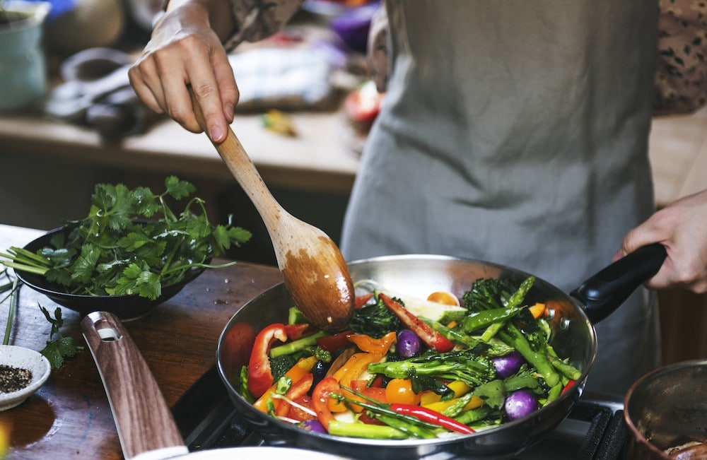 Carbon Steel Pan with sauteed veggies picture
