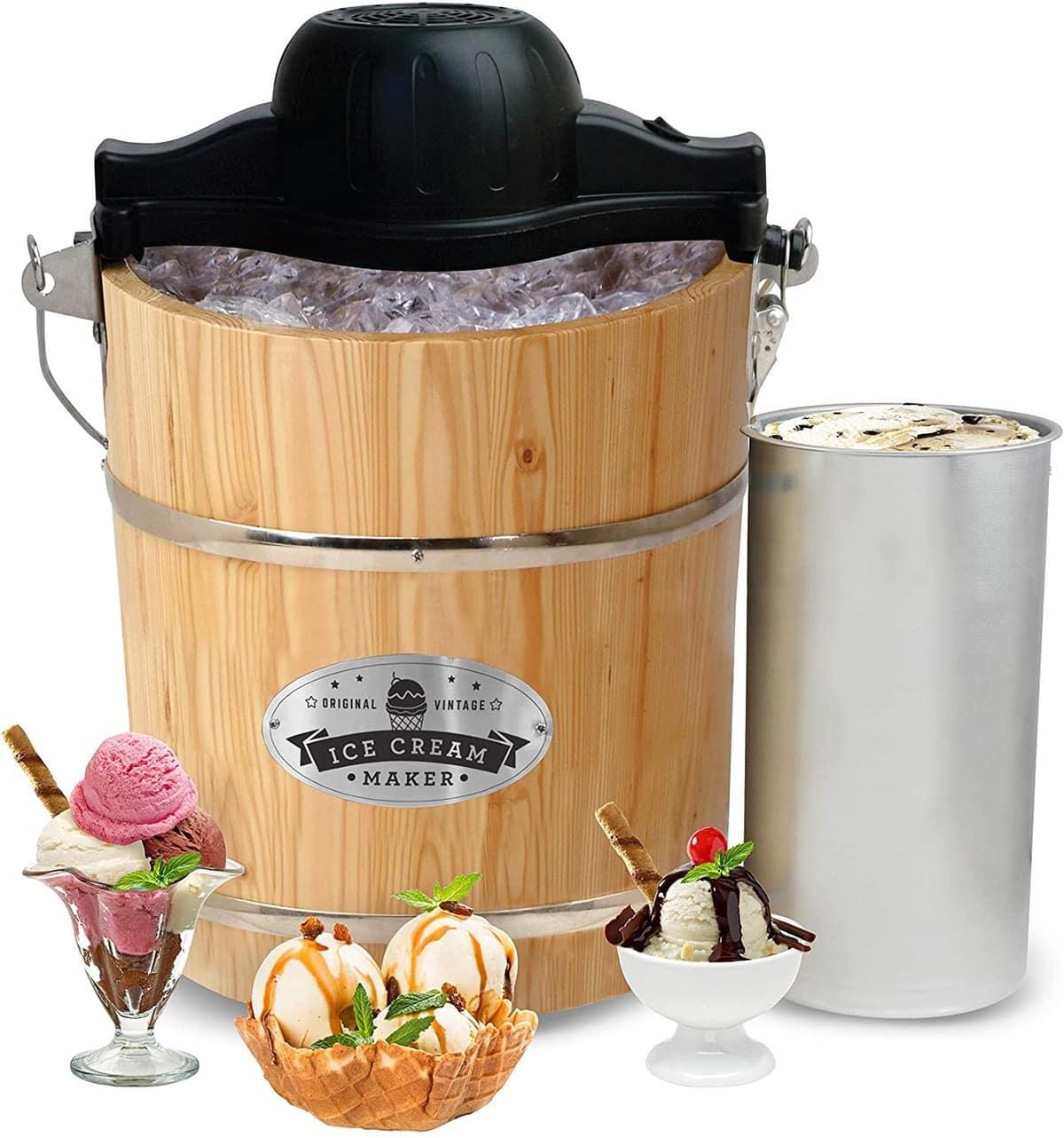 Elite Gourmet EIM-502 Vintage Appalachian Wood Ice Cream Maker