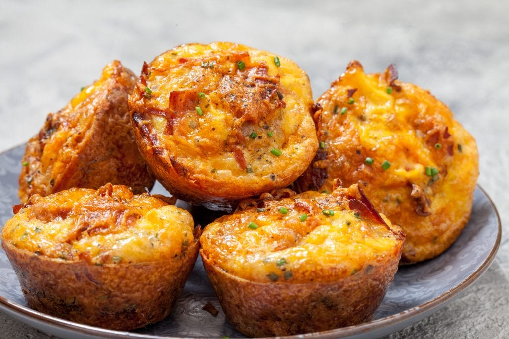 Breakfast muffins with chorizo and cheddar
