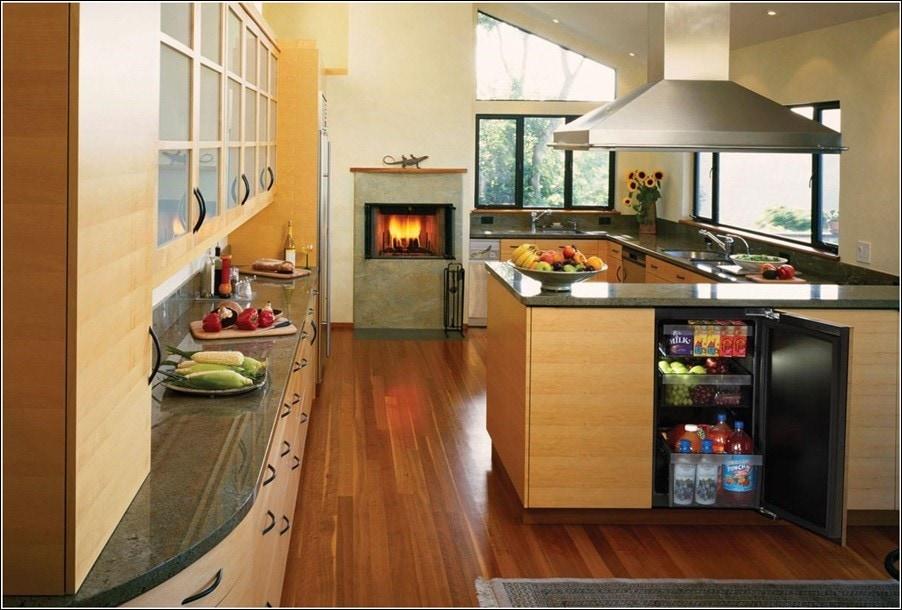 kitchen with undercounter modular refrigerator