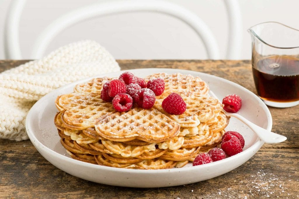 thin waffles with berries
